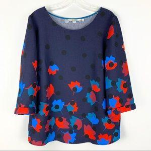 Boden Floral & Polka Dot Navy Blue Rachel Top